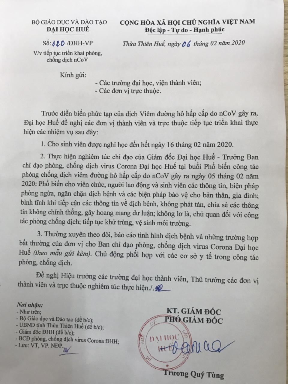 Thông báo sinh viên được nghỉ học đến hết ngày 16 tháng 02 năm 2020 và tiếp tục triển khai phòng chống dịch nCoV của Đại học Huế